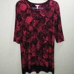 SOMA Rose Print 3/4 Sleeve Nightgown XXL NWOT